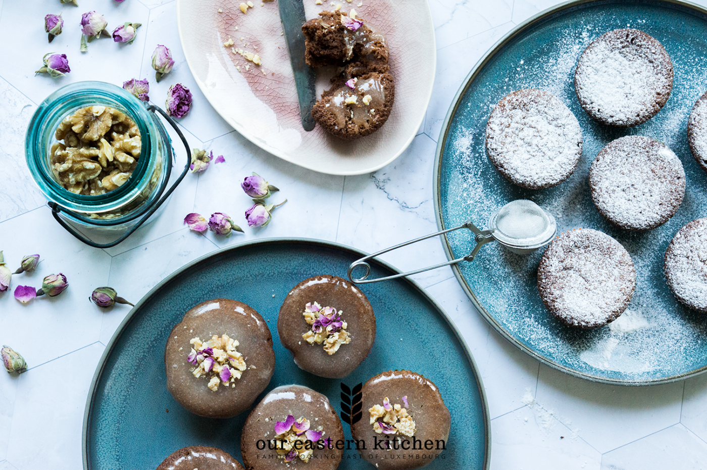 Our Eastern Kitchen - Most Delicate Chocolate Cupcakes with Lemon Glaze, Rose Petals and Walnuts - Recipe - Food Photography